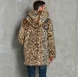 Hooded Autumn Leopard faux mink leather jacket mens winter thicken warm fur