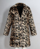 Autumn leopard print faux mink leather jacket mens winter thicken warm