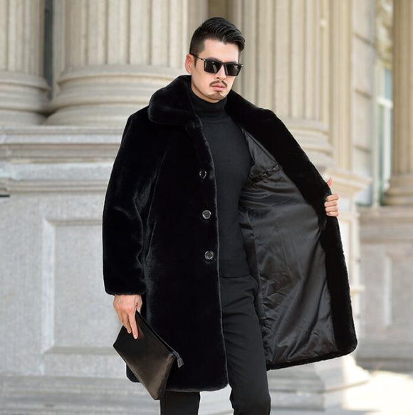 Autumn faux mink fur leather jacket mens winter thicken warm Mink cashmere leather