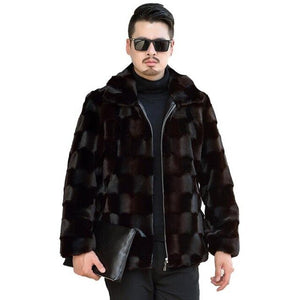 Autumn faux mink fur leather jacket mens winter thicken warm diamond fur leather