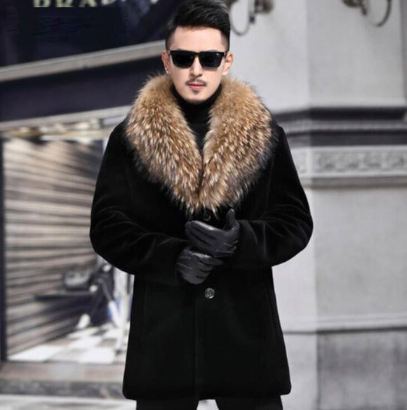 Autumn faux mink fur leather jacket mens winter thicken warm fur leather