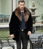 Autumn faux mink fur leather jacket mens winter thicken