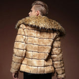 Autumn casual faux mink leather jacket mens yellow