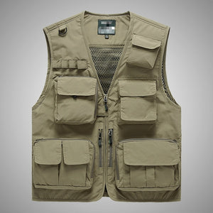 Summer Men Tactical Utility Vest Boys Red Outdoor V-neck Sleeveless Vest Casual