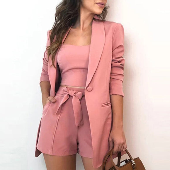 Three Piece Sets Women Blazer Sexy Slash Neck Office Long Sleeve Suit+Vest Top+Shorts