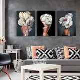 Nordic Modern Floral Feather Woman Abstract Fashion Style Canvas Painting Art Print Poster Picture Wall Living Room Home Decor