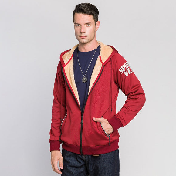 Sports Letters Printed Sweater and Velvet Zipper Cardigan Hooded Jacket Men