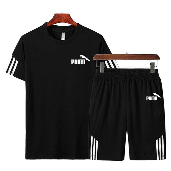 Men Casual Set Men's Sportwear Fitness Sets fashion Summer Short Sleeve