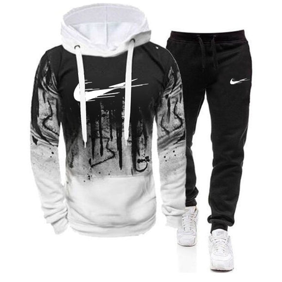 Fashion Men Set Brand Hoodies+Pants Sets Tracksuit Men's Casual Slim