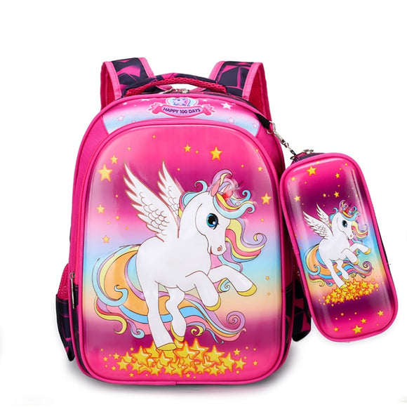 Disney New Children Princess School Bag Boys Girls Unicorn Cartoon Kindergarten Schoolbags Kids