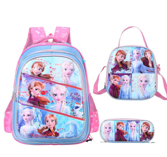 Disney Frozen Waterproof Children school bags Girls cartoon schoolbags Primary School Backpack set