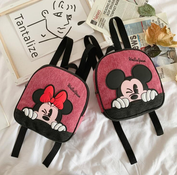 New Mickey School Bag Minnie for Boys Girls baby Bag Children Backpack Kindergarten