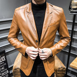Single Breasted Leather Jacket Men Slim Faux Leather Coats Outwear Autumn Winter Mens PU Jackets