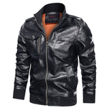 Fashion Outerwear Men Biker Faux Leather Jackets Motorcycle Stand Collar Zipper Mens