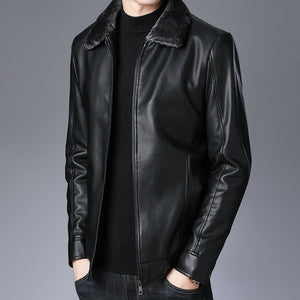 Winter Faux Fur Leather Jacket Men Plus Size Velvet Jackets Detachable Collar Business Casual