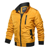 Autumn Winter Stand Collar Casual Boys Yellow Fly Jacket Slim Retro Vintage Flight Jacket