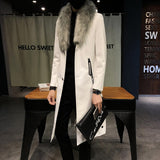 Big Fur Collar  Mens faux Leather Trench Coats Men Overcoats Luxury Veste Homme