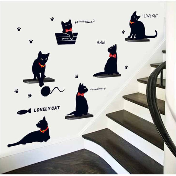 New Cat family Wall Sticker PVC Cute Kitty Living room background stairs stickers on the wall DIY Decal Home Decor Decal