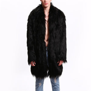 Naiveroo Mens Fur Coat North Winter Faux Fur Outwear Windbreaker Both Side