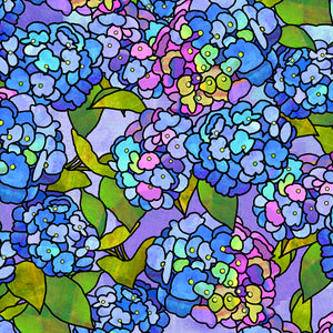 Stained Glass Garden - Hydrangeas - Blue