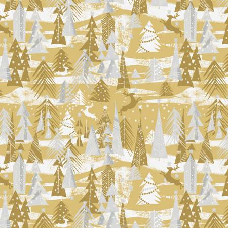 Gold Reindeer Forest w/Metallic