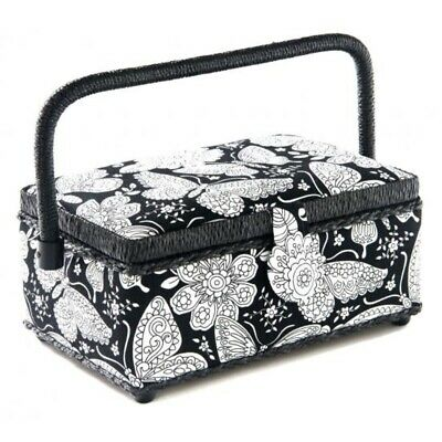 Sewing Basket - Small Black and White Butterflies