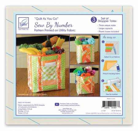 Quilt As You Go Utility Shoppers Totes - 3pk