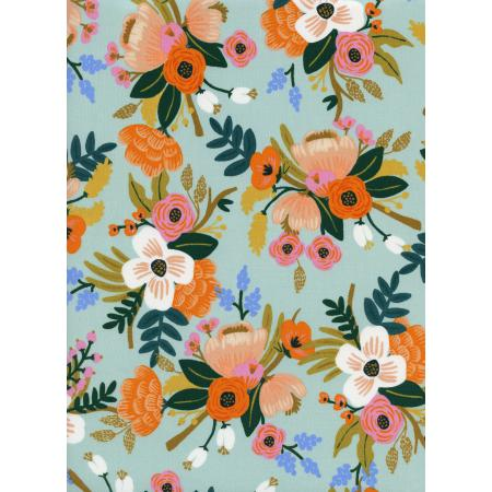 Amalfi - Lively Floral - Mint Rayon Fabric