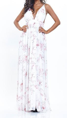 Halter Maxi with Rose Floral Print