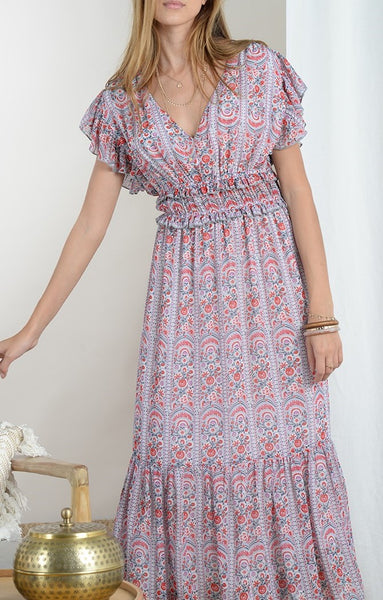 Smocked Waist Midi Dress in Vibrant Floral