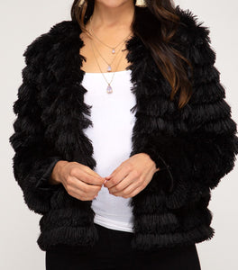 LONG SLEEVE LAYERED FAUX FUR JACKET in BLACK