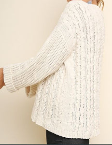 Cuffed Long Sleeve Chenille Cable Knit Pullover Sweater in Cream