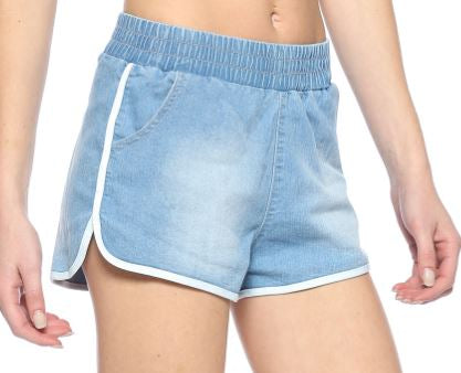 Denim Track Shorts