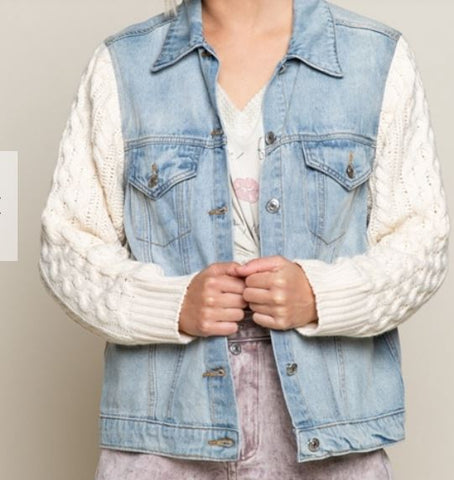 Denim Jacket in Light wash with Sweater Sleeve Detail
