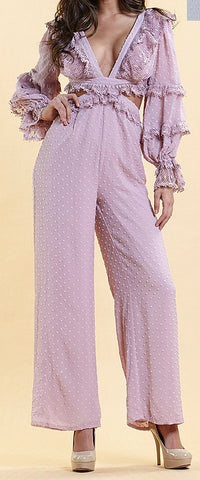 Dusty Rose Jumpsuit with Corset style back