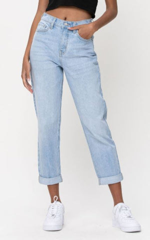 High Rise Dbl Roll Cuff Crop Mom Skinny