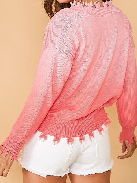 Frayed Pullover Sweater Pink