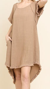 Short Sleeve Linen Dress Latte