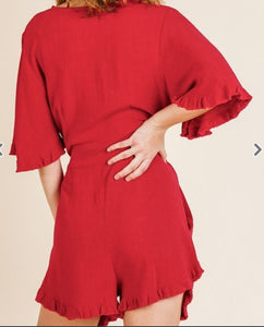Linen Romper in RED or BLACK