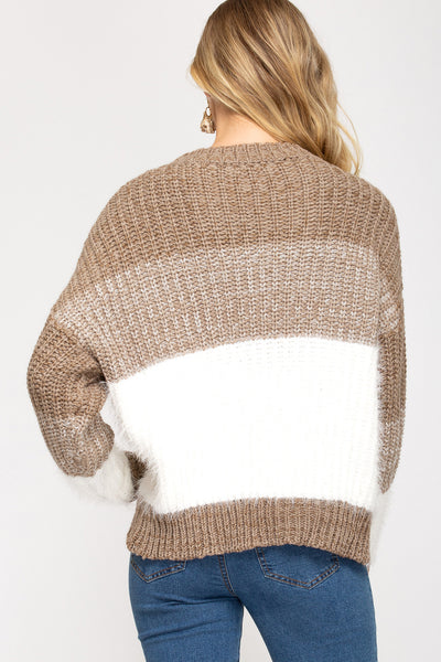 Fuzzy Knit Stripe Sweater in Mocha and White
