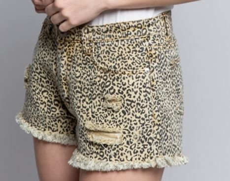 Leopard Print Denim Shorts