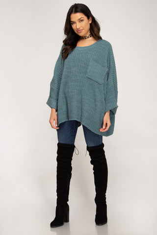 Oversize Chenille Sweater in Slate