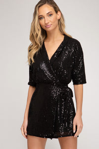 Sequin Wrap Romper in Black