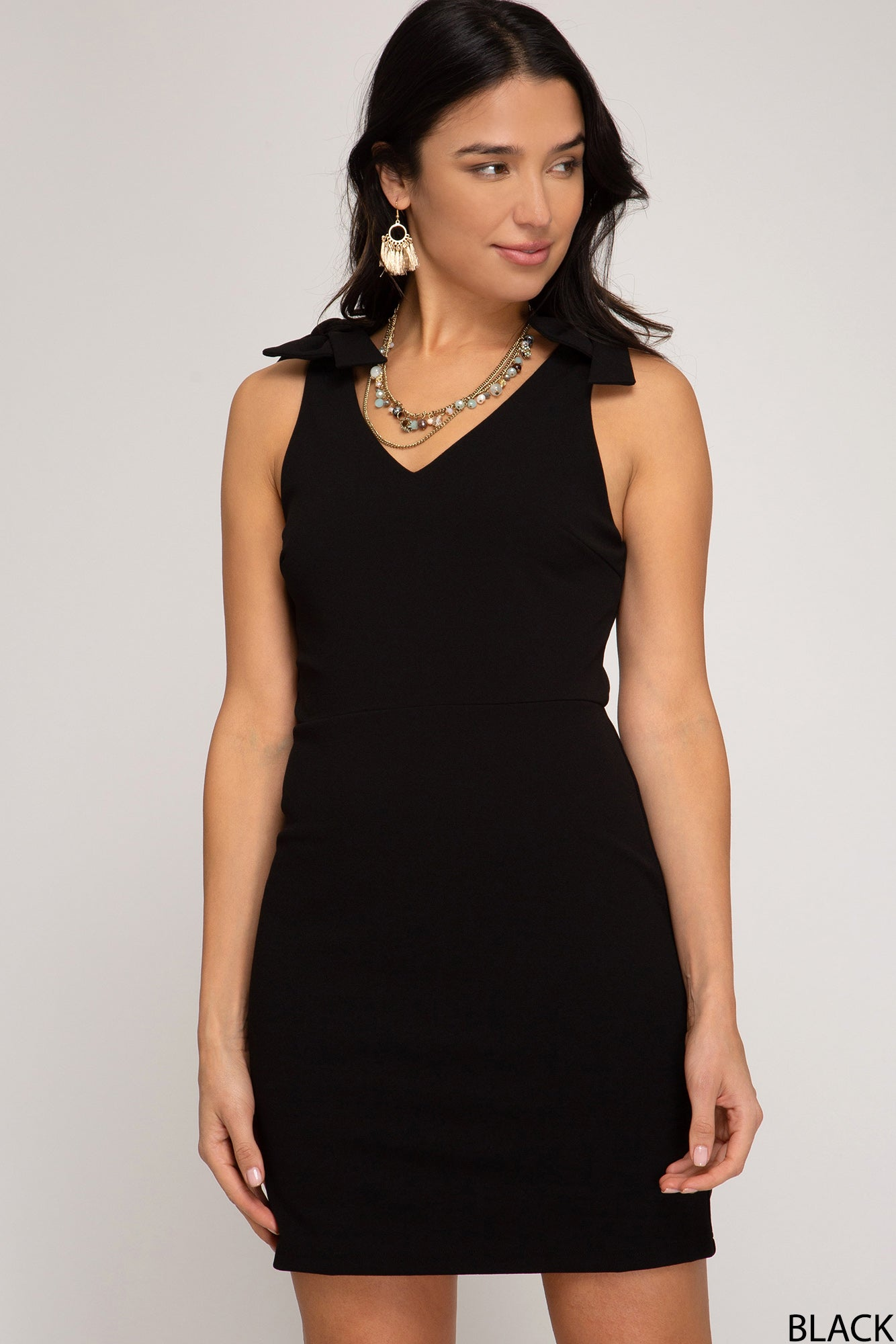 Classic Fitted Sheath Style Dress with Shoulder Tie in Black