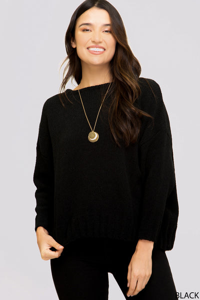 Long Sleeve Open Back Sweater in Black