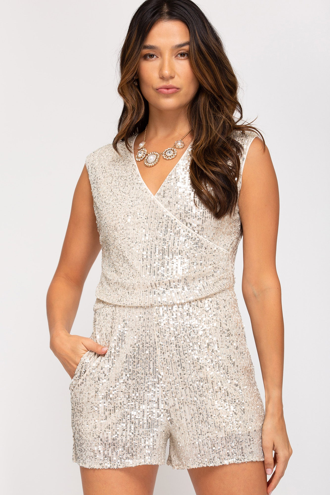Sleeveless Sequin Wrap Romper in Cream