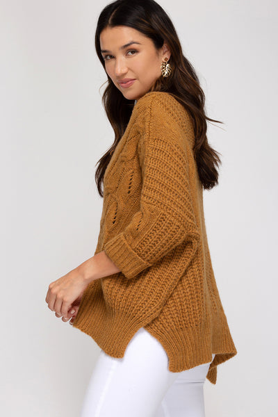 Three quarter sleeve Sweater in Caramel