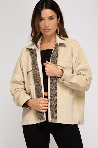 Corduroy Jacket with Front Flap Pockets in Creme