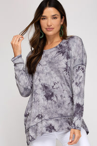 Long Sleeve Tie Dyed Pull Over with Open Back Charcoal Color