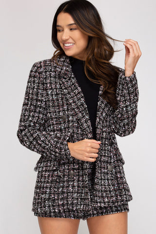 Tweed multi color Double Breasted Blazer